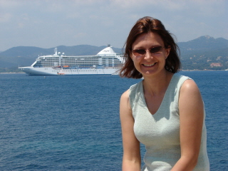Debbie with the cruise ship at St. Tropez